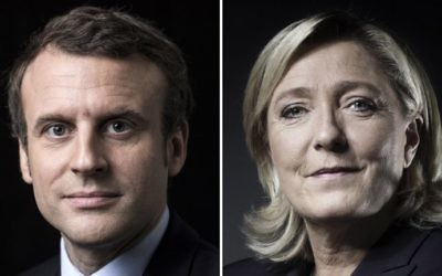 A combination of picture made on April 23, 2017 shows French presidential election candidate for the En Marche ! movement Emmanuel Macron and French presidential election candidate for the far-right Front National (FN) party Marine Le Pen posing in Paris. (AFP PHOTO / Joël SAGET AND Eric Feferberg)