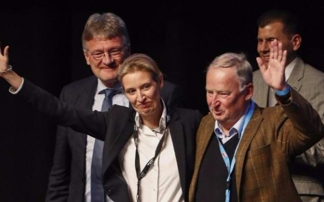 Alice Weidel and Alexander Gauland (front R) celebrate their nomination as campaign leaders of Germany's right-wing populist Alternative for Germany (AfD) party for the next German general election, during the party congress at the Maritim Hotel in Cologne, western Germany, on April 23, 2017. (Odd ANDERSEN / AFP)