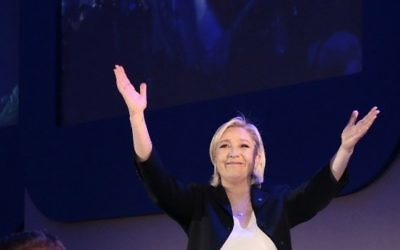 French presidential election candidate for the far-right Front National (FN) party Marine Le Pen delivers a speech in Henin-Beaumont, on April 23, 2017, after the first round of the Presidential election.  (Joel SAGET / AFP)