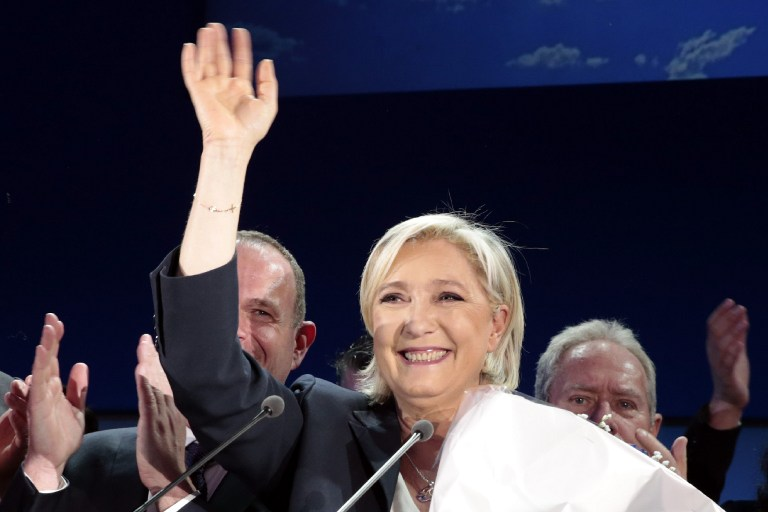 French presidential election candidate for the far-right Front National (FN) party Marine Le Pen delivers a speech in Henin-Beaumont, April 23, 2017. (AFP/joel SAGET)