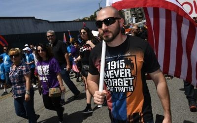 Thousands of members of the Armenian community march to the Turkish Consulate on April 24, 2017 in Los Angeles, California, on the 102nd anniversary of the Armenian genocide. (AFP Photo/Mark Ralston)