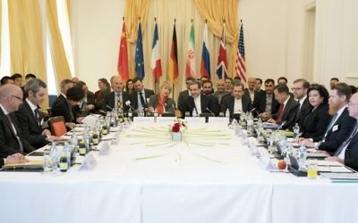 Illustrative: Iranian diplomats and officials from the P5+1 powers meet in Vienna to discuss the 2015 nuclear accord on April 25, 2017. (AFP/Joe Klamar)