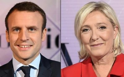 This combination of file pictures shows a December 11, 2016 photo of French presidential election candidate for the En Marche! movement Emmanuel Macron (L) and a September 11, 2016 of French presidential election candidate for the far-right Front National (FN) party Marine Le Pen, both in televisions studios in La Plaine-Saint-Denis. (Eric Feferberg and Miguel Medina/AFP)