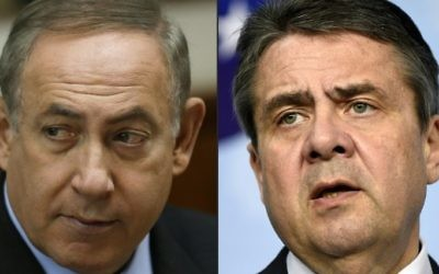 This combination of pictures created on April 25, 2017 shows Israeli Prime Minister Benjamin Netanyahu (L) attending a cabinet meeting in Jerusalem on March 16, 2017 and German Minister of Foreign Affairs Sigmar Gabriel during a joint press conference on April 5, 2017 at the EU headquarters in Brussels. (Amir Cohen and John Thys/AFP)