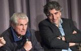 Directors Claude Lelouch, left, and Alexandre Amiel attend a panel discussion at the Colcoa French Film Festival, in Los Angeles, California, April 25, 2017. (AFP/VALERIE MACON)