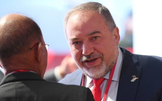 Defense Minister Avigdor Lieberman attends the sixth Moscow Conference on International Security in Moscow on April 26, 2017. (AFP Photo/Natalia Kolesnikova)