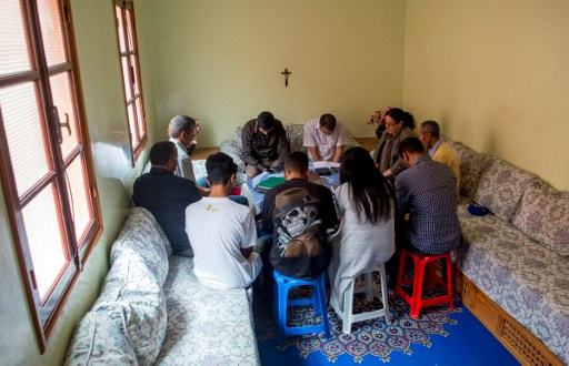 Moroccan Christian converts attend prayers at a house in Ait Melloul near Agadir on April 22, 2017. (AFP Photo/Fadel Senna)