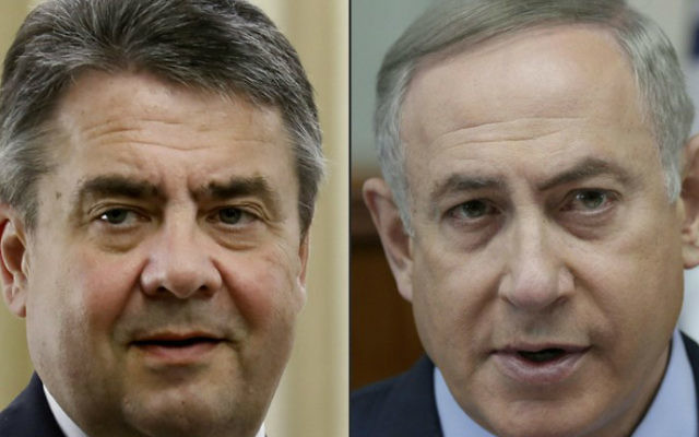 This combination of pictures created on April 25, 2017 shows German Foreign Minister Sigmar Gabriel (L) on April 25, 2017 and Israeli Prime Minister Benjamin Netanyahu during the weekly cabinet meeting in Jerusalem on March 5, 2017. (GALI TIBBON, ABIR SULTAN / EPA POOL / AFP)