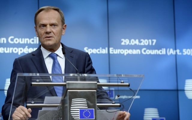 European Union Council President Donald Tusk gives a press conference following a Special Meeting of the European Council at the EU Council building in Brussels on April 29, 2017. (AFP/THIERRY CHARLIER)