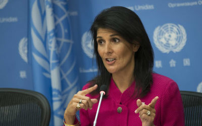 US Ambassador to the United Nation Nikki Haley answers questions during a press briefing at the United Nations headquarters, April 3, 2017 in New York City. (Drew Angerer/Getty Images via AFP)