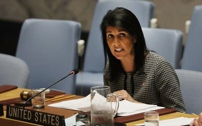 US Ambassador to the United Nations Nikki Haley speaks at a United Nations Security Council meeting on the situation in the Middle East, at the UN headquarters in New York City, April 12, 2017. (Spencer Platt/Getty Images/AFP)