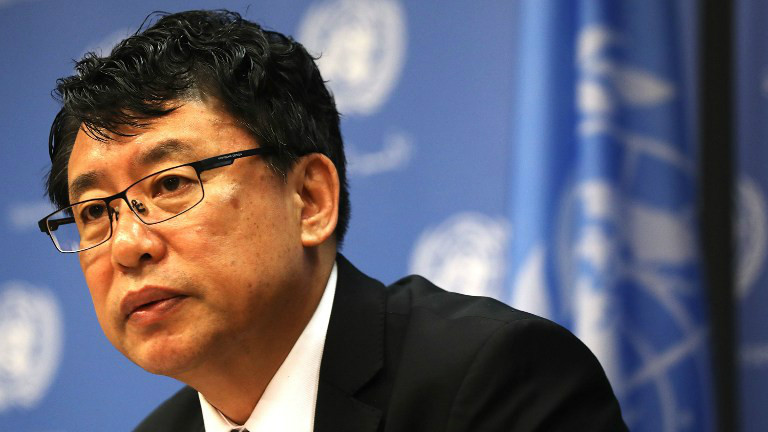 North Korea Deputy United Nations Ambassador Kim In Ryong speaks to the media at the U.N. on April 17, 2017 in New York City. (Spencer Platt/Getty Images/AFP)