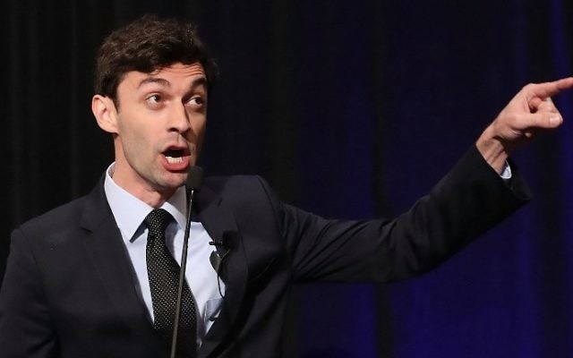 Democratic candidate Jon Ossoff speaks to his supporters as votes continue to be counted in a race that was too close to call for Georgia's 6th Congressional District. (Joe Raedle/Getty Images/AFP)