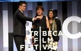 Bobbi Jene Smith (C) accpets the Best Documentary Cinematography Award on behalf of Elvira Lind from Jurors David Wilson (L) and Barbara Kopple (R) during Awards Night during the 2017 Tribeca Film Festival at BMCC Tribeca PAC on April 27, 2017 in New York City. (Nicholas Hunt/Getty Images for Tribeca Film Festival/AFP)