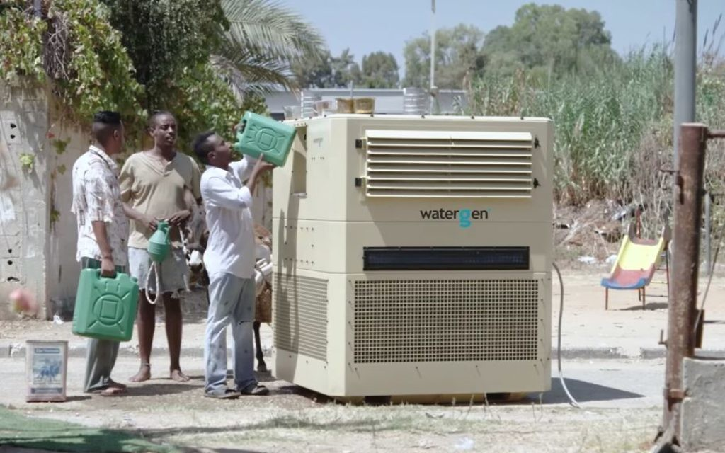 Water-Gen's technology uses a series of filters to purify the air, take out the humidity and transform it into clean drinking water. (YouTube screenshot)