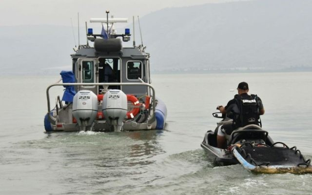 Police search for three youths who went missing on the Sea of Galilee on April 13, 2017. (Police spokesperson)