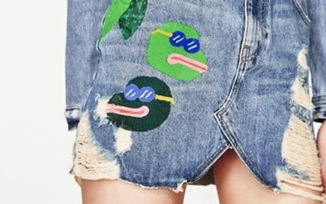 A skirt pulled by Zara following outrage over what appears to resemble Pepe the Frog images, April 2017.