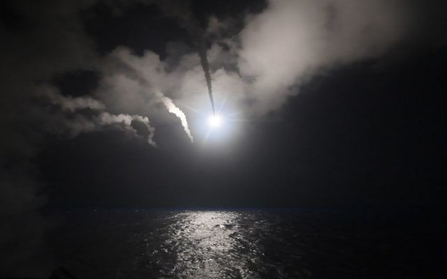 The guided-missile destroyer USS Porter conducts strike operations against Syria while in the Mediterranean Sea, April 7, 2017. (US Navy/Ford Williams)