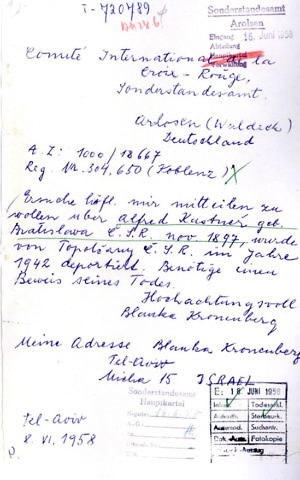 Moshe Bar-Yuda's mother's 1958 letter to ITS asking for information on her husband Alfred Kastner, murdered in the Holocaust. (Courtesy ITS via Yad Vashem)