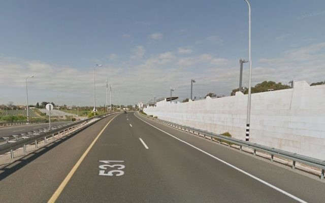 Route 531 in central Israel. (Screen capture: Google Street View)