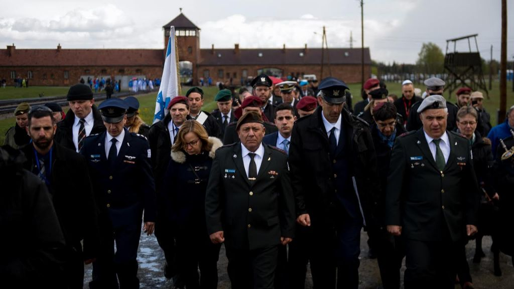 IDF Chief Lt. Gen. Gadi Eisenkot leads a military delegation to the Auschwitz-Birkenau concentration camp in Poland on April 23, 2017, ahead of Holocaust Remembrance Day. (IDF Spokesperson's Unit)