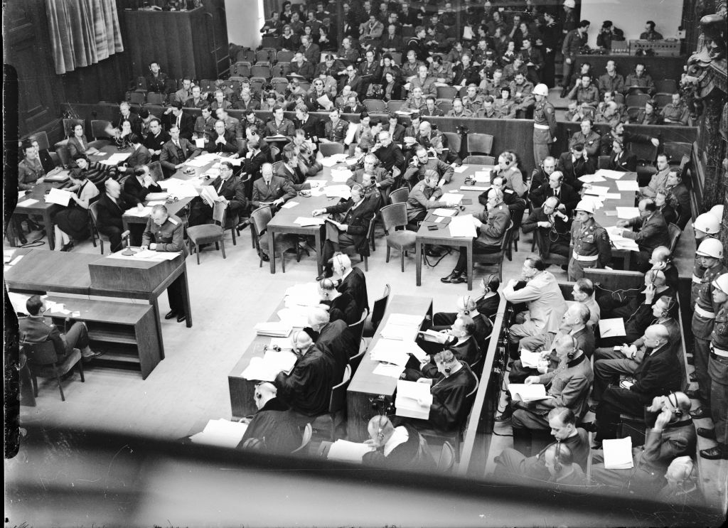 A November 20, 1945 photo of the Nuremberg courtroom in which Hersch Lauterpacht participated in the case against Nazi Hans Frank. (Courtesy)