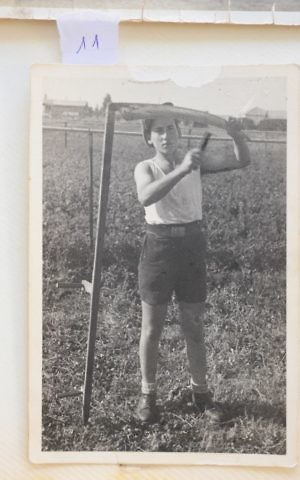 Shimon Keller, formerly known as Siegfried, during his first days on kibbutz, in pre-state Palestine (Courtesy Yad Vashem)