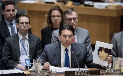 Israeli Ambassador to the UN Danny Danon speaks at a UN Security Council meeting on April 20, 2017. (UN Photo/Rick Bajornas)