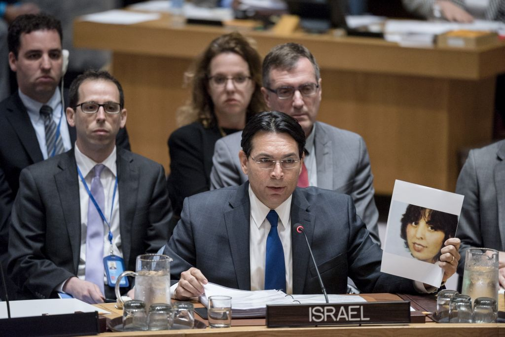 Israel ambassador Danny Danon speaks at the United Nations Security Council meeting, April 20, 2017. (UN Photo / Rick Bajornas)