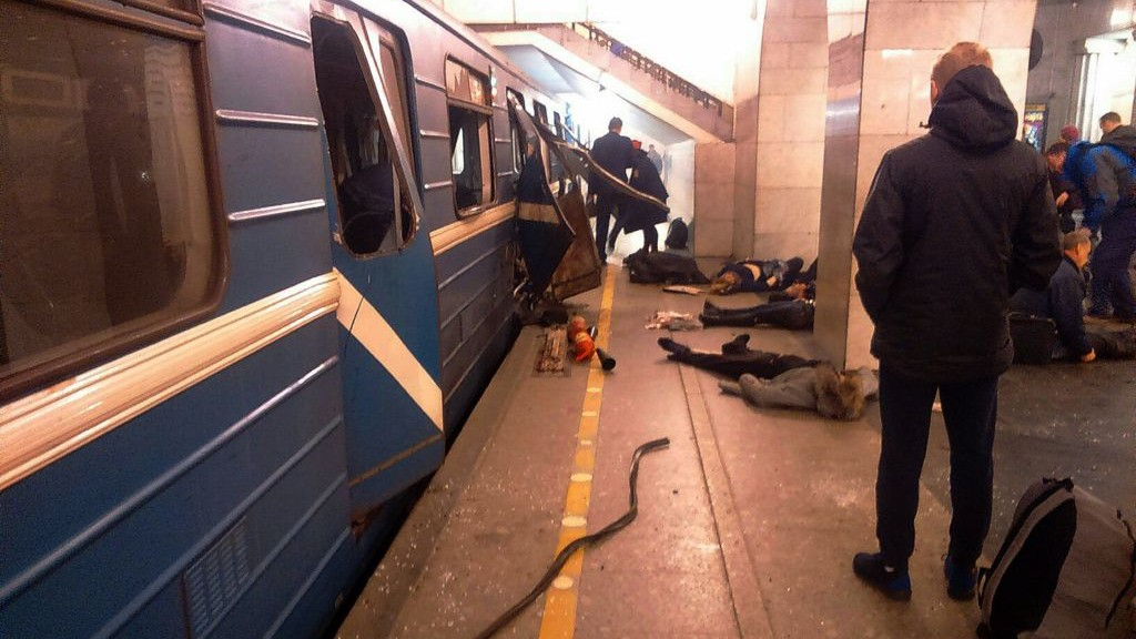 Blast victims lie near a subway train hit by a explosion at the Tekhnologichesky Institut subway station in St.Petersburg, Russia, Monday, April 3, 2017. (AP Photo/DTP&ChP St. Peterburg via AP)