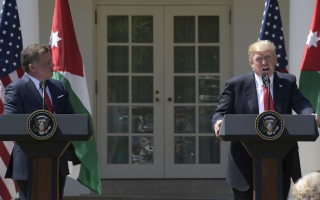 President Donald Trump and Jordan's King Abdullah II speak during a news conference in the Rose Garden of the White House in Washington, Wednesday, April 5, 2017. (AP Photo/Susan Walsh)