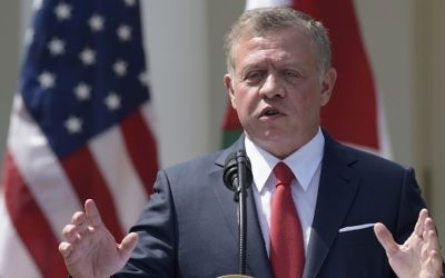 Jordan's King Abdullah II speaks during a news conference with President Donald Trump in the Rose Garden of the White House in Washington, Wednesday, April 5, 2017. (AP Photo/Susan Walsh)