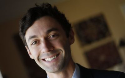 Jewish Democratic candidate for Georgia's 6th Congressional District Jon Ossoff poses for a portrait in Atlanta, February 10, 2017. (AP/John Bazemore, file)