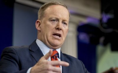 White House press secretary Sean Spicer talks to the media during the daily press briefing at the White House in Washington, Tuesday, April 11, 2017. (AP Photo/Andrew Harnik)