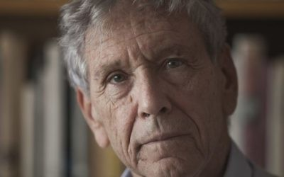 A photo of Israeli writer Amos Oz at his house in Tel Aviv from November 2015. Oz was nominated Thursday, April 20, 2017 for the Booker Man International Prize for his novel 'Judas' (Courtesy Dan Balilty/AP)
