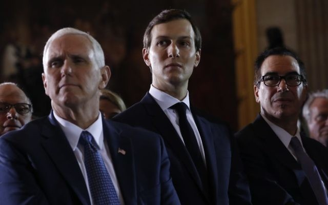 From left, Vice President Mike Pence, White House senior adviser Jared Kushner and Treasury Secretary Steve Mnuchin listen on Capitol Hill in Washington, Tuesday, April 25, 2017, as President Donald Trump speaks at the United States Holocaust Memorial Museum's National Days of Remembrance ceremony. (AP Photo/Pablo Martinez Monsivais)
