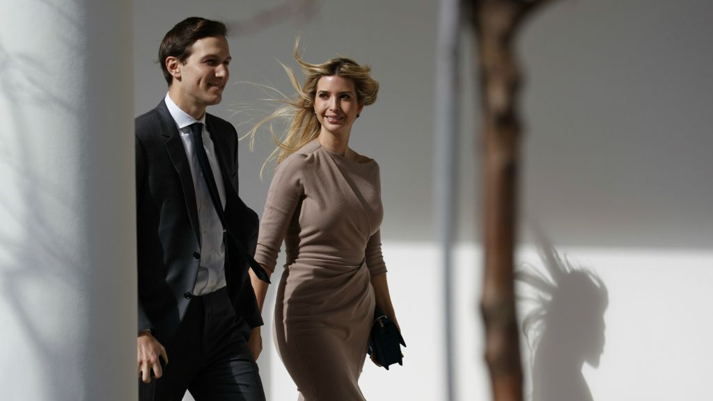 Ivanka Trump, right, walks with her husband, Jared Kushner, senior adviser to the president, to a news conference with President Donald Trump and Japanese Prime Minister Shinzo Abe, at the White House in Washington, Feb. 10, 2017. (AP Photo/Evan Vucci)