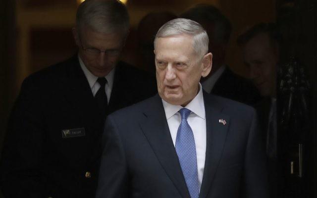 US Defense Secretary James Mattis leaves after visiting British Prime Minister Theresa May at 10 Downing Street in London, Friday, March 31, 2017. (AP Photo/Matt Dunham, Pool)