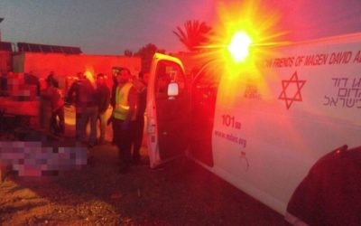 Medics at the scene of an explosion that killed two children in a Negev encampment on Tuesday, April 25, 2017 (Magen David Adom)