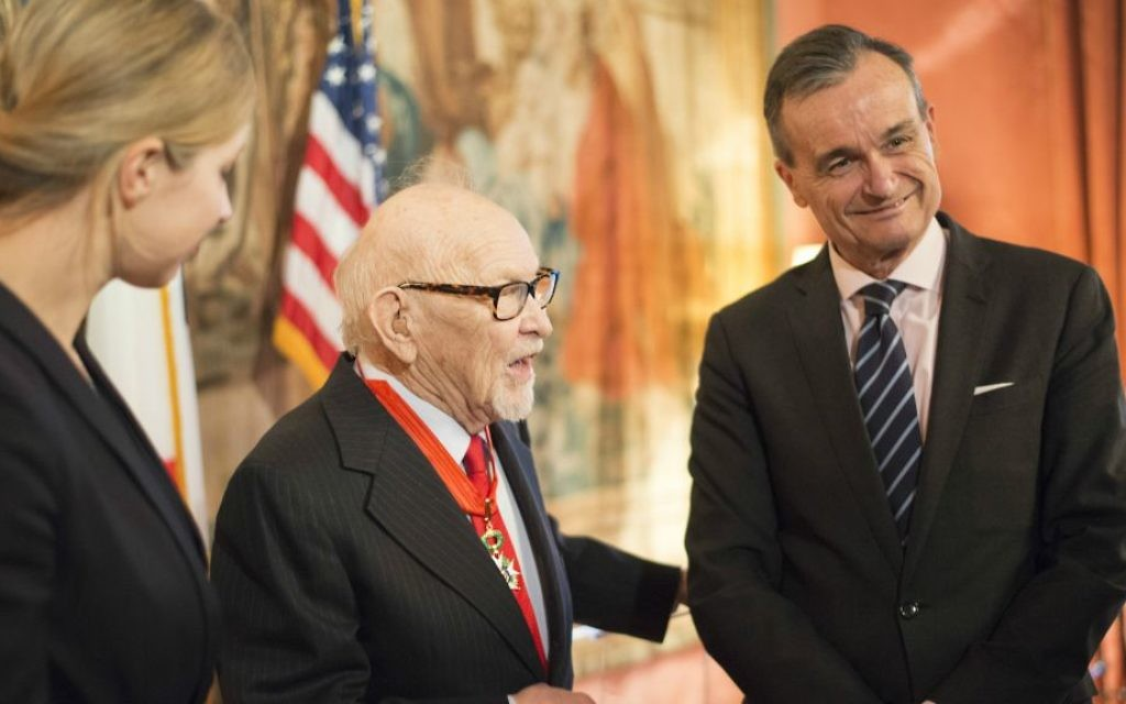 Professor Justus Rosenberg receiving the French Legion of Honor from the French ambassador to the United States, Gerard Araud on Thursday, March 30, 2017. (Emily Stern)