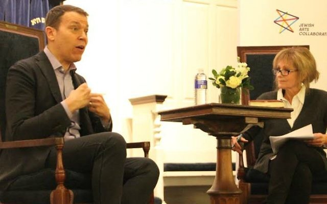 Bruce Feiler in conversation with Robin Young on March 27, 2017 at Temple Sinai in Brookline, Massachusetts. (Courtesy Jim Ball, Jewish Arts Collaborative)