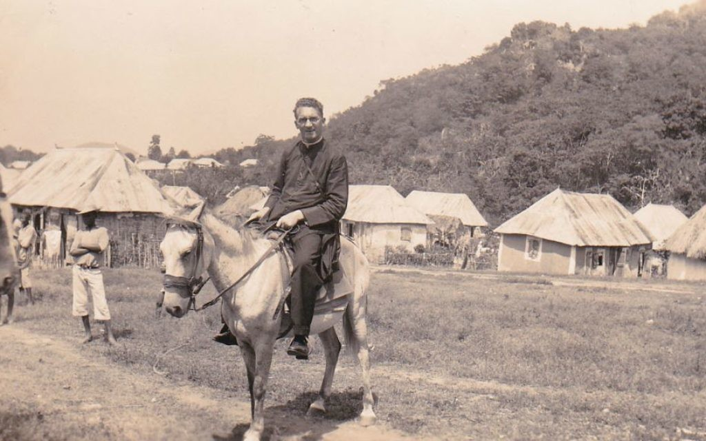 Monsignor Hugh O'Flaherty on a donkey in Haiti before the outbreak of World War II. (Courtesy/Memorial Society)