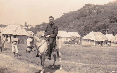 Monsignor Hugh O'Flaherty on a donkey in Haiti before the outbreak of World War II. (Courtesy/Memorial Society)