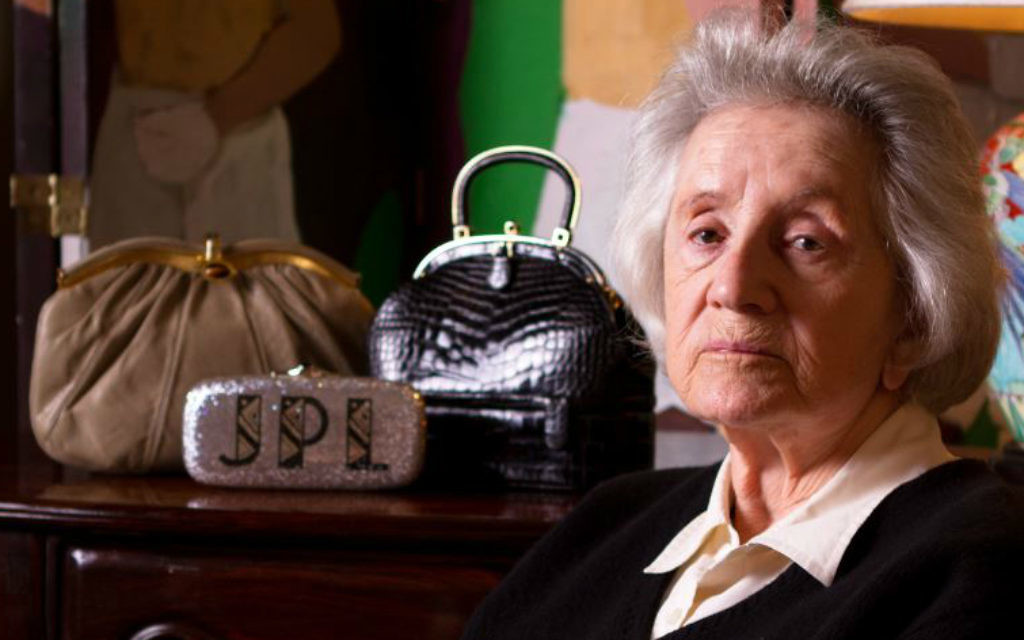 Judith Leiber sits with some of her designs. (Courtesy)