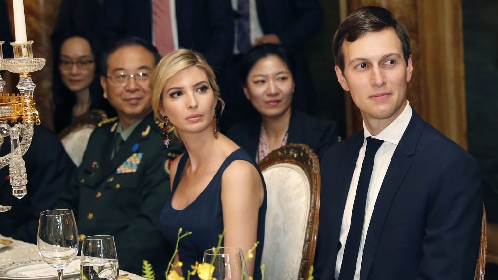 In this Thursday, April 6, 2017, photo, Ivanka Trump is seated with her husband, White House senior adviser Jared Kushner, during a dinner with President Donald Trump and Chinese President Xi Jinping, at Mar-a-Lago, in Palm Beach, Fla. (AP Photo/Alex Brandon)