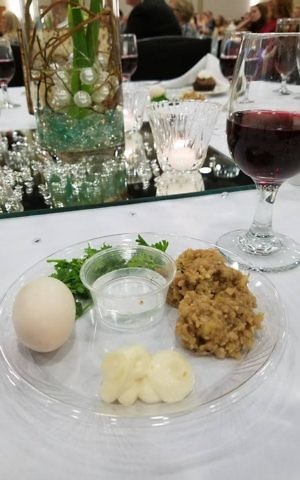 A seder plate at the Cross Life Church in Alvarado, Arkansas. (Courtesy)