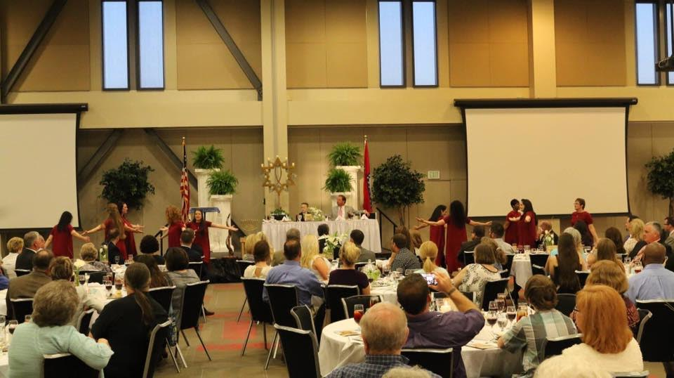 Congregants celebrate the Passover seder at the Cross Life Church in Alvarado, Arkansas. (Courtesy)