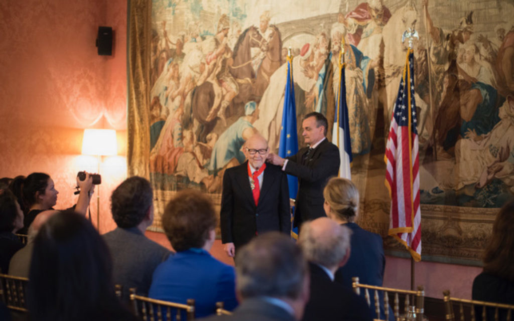 Justus Rosenberg receiving the French Legion of Honor, Thursday, March 30, 2017. (Emily Stern)
