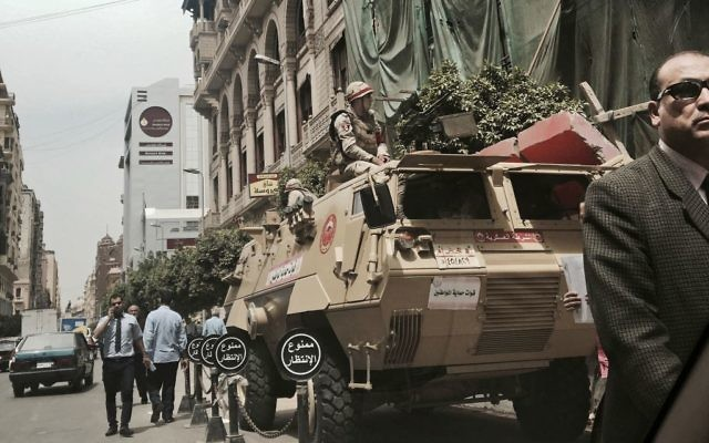 Soldiers guard a street near a church in downtown Cairo, Egypt on April 10, 2017. (AP/Nariman El-Mofty)