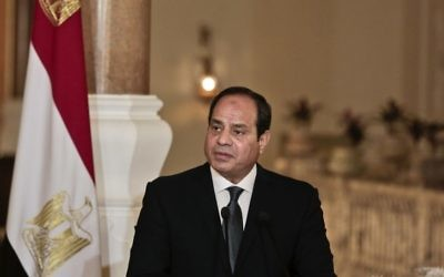 File: Egyptian President Abdel-Fattah el-Sissi at a press conference with German Chancellor Angela Merkel at the presidential palace in Cairo, Egypt, Thursday, March 2, 2017. (AP/Nariman El-Mofty)